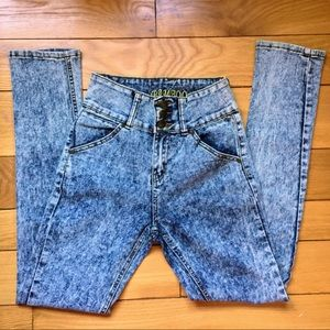 Vintage 90s acid wash high waist mom jeans size XS